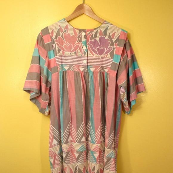 30308d3fd5 Pastel Floral Tunic Dashiki Robe Moo Moo Dress 60s.  M 5ab3d6bd739d4859a8364724